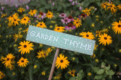 Garden Thyme Sign Stock Photography