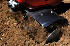 Garden tiller to work , detail. Detail Garden tiller to work royalty free stock photo
