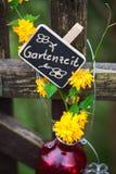 Garden Time, label at garden gate Stock Image