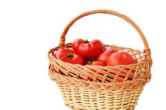 Garden tomatoes in a wicker basket isolated Royalty Free Stock Image