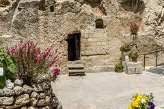 The Garden Tomb in Jerusalem, Israel. Entrance to the tomb. The Garden Tomb outside the walls of the Old City of Jerusalem, Israel Stock Images