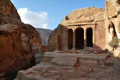 Garden tomb in Petra. The Garden Tomb in Petra, Jordan. Nabataeans capital city (Al Khazneh). Made by digging the rocks. Roman Empire period Royalty Free Stock Images