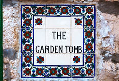 The Garden Tomb sign in Jerusalem Stock Image