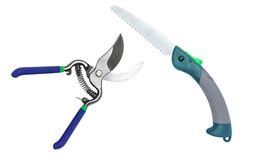 Garden Tool. Fruit small scissors and saws suitable for cutting small branches Stock Photos