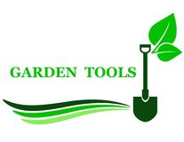 Garden tool background. With shovel and green leaf Stock Images
