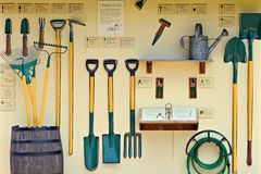 Garden Tool Display. A garden tool display set up at the Chicago Botanical Gardens stock photography