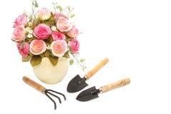 Garden tool and flower pot Stock Photos