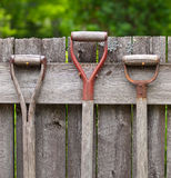 Garden tool handles hanging on a wooden fence Stock Photography