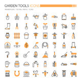 Garden Tool Icons. Thin Line and Pixel Perfect Icons Stock Photography