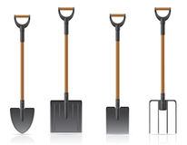 Garden tool shovel and pitchfork vector illustrati. On isolated on white background Royalty Free Stock Photos