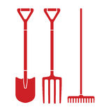 Garden tool spade, pitchfork and rake vector icons Royalty Free Stock Photos