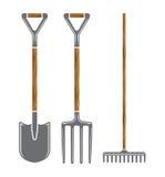 Garden tool spade, pitchfork and rake vector icons Stock Photos