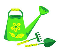 Garden tools. Watering can, rake and shovel. Isolated on the white. Vector Stock Photo