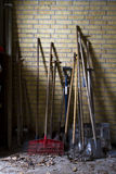 Garden tools. Standing against wall Stock Image
