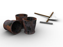 Garden Tools. 3d rendered image of some buckets, a spade and a rake Royalty Free Stock Photo