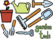 Garden tools. On white background. vector image Stock Photos