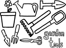 Garden tools. Black and white garden tools on white background. vector image Royalty Free Stock Images