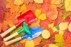 Garden tools and autumn leaves Stock Photography