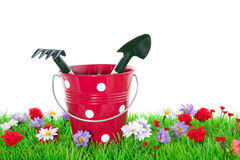 Garden tools in a bucket Stock Images