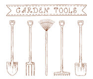 Garden tools. Collection of sketch hand drawn garden tools Royalty Free Stock Photo