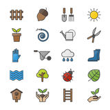 Garden and Tools Color Icons Set Of Vector Colorful Flat Icon Stock Photography