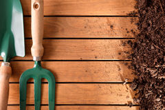 Garden tools composition on a wooden table top concept Stock Photography