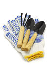 Garden tools and cotton gloves Stock Photos