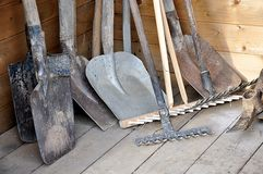 Garden Tools. Detail view, handle garden tools Royalty Free Stock Image