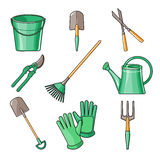 Garden Tools Flat Design illustration Stock Image