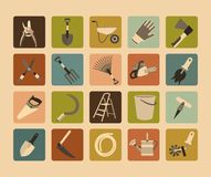 Garden Tools Flat Icon Set. Twenty flat icons in a rectangular shape with rounded corners depicting gardening tools in retro style Stock Photography