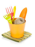 Garden tools in flower pot Royalty Free Stock Image
