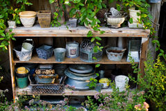 Garden tools and flowerpots Royalty Free Stock Photo