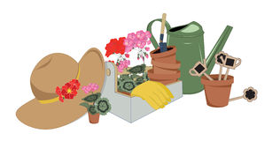 Garden tools and flowers in pots. Vector illustration Royalty Free Stock Image