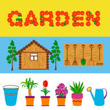 Garden tools and flowers web banners stock illustration