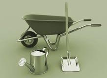 Garden tools. Garden wheelbarrow, watering can and a shovel Stock Image