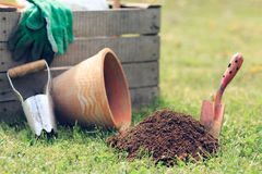 Garden tools. Gardening tools in the garden Royalty Free Stock Photos