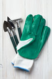 Garden tools and gloves Royalty Free Stock Photos