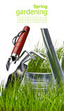Garden - tools with grass on white Stock Photo