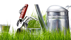 Garden - tools with grass on white Royalty Free Stock Image