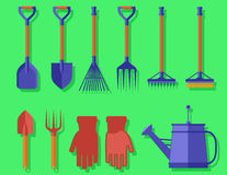 Garden  tools on green background Stock Photography
