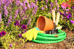 Garden tools on green grass in garden Royalty Free Stock Photography