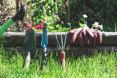 Garden tools on green meadow Stock Photography