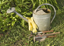 Garden tools on the ground Stock Photos