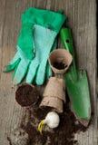 Garden tools with ground Stock Photos
