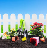 Garden tools on the ground Royalty Free Stock Photo