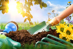 Garden tools on the ground outdoor front view Royalty Free Stock Photography