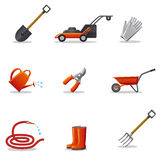Garden tools icon set Royalty Free Stock Photos