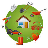 Garden tools icon set Stock Image
