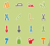 Garden tools icon set Royalty Free Stock Images