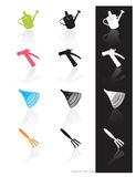Garden Tools Icon (Vector). Colorful set of icons of garden tools in 3 styles; Easy edit vector art stock illustration